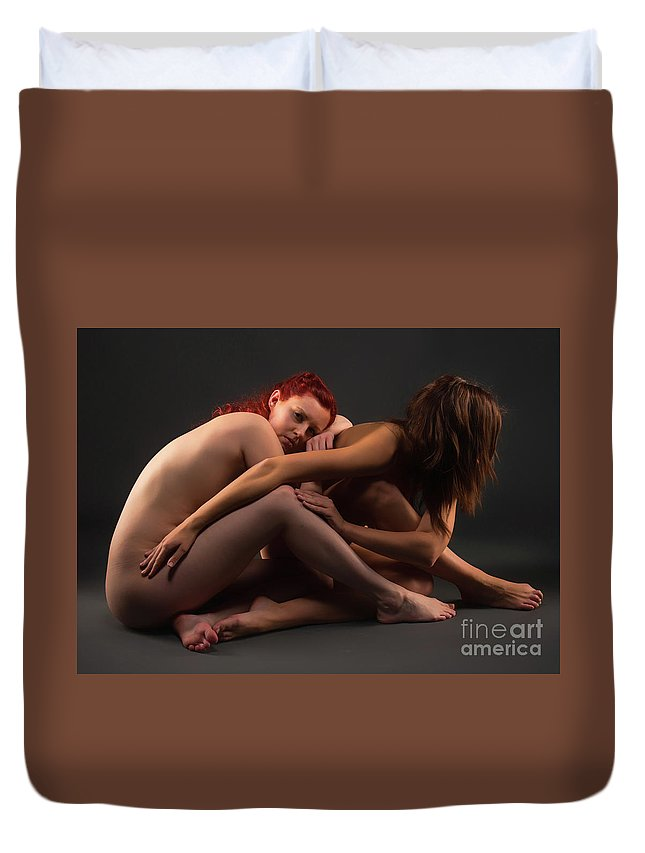 Bodyscape Body Scape Duvet Cover featuring the photograph Christiana And Ciara - 4 by Robert McAlpine