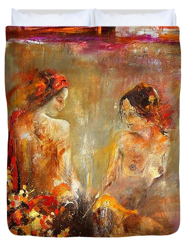 Girl Nude Duvet Cover featuring the painting Two Nudes by Pol Ledent