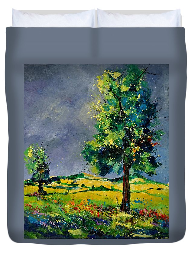 Landscape Duvet Cover featuring the painting Two Oaks 56 by Pol Ledent