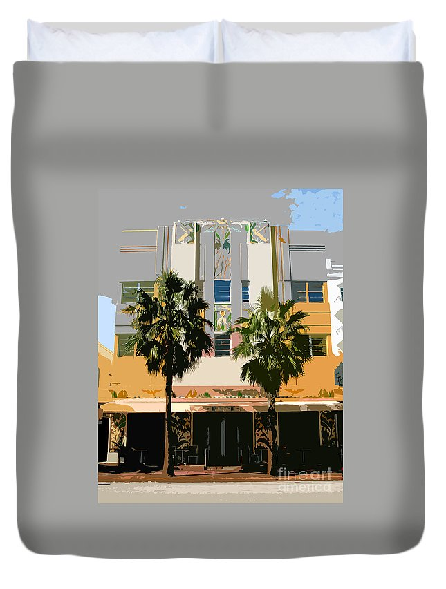 Miami Beach Florida Duvet Cover featuring the photograph Two Palms Art Deco Building by David Lee Thompson