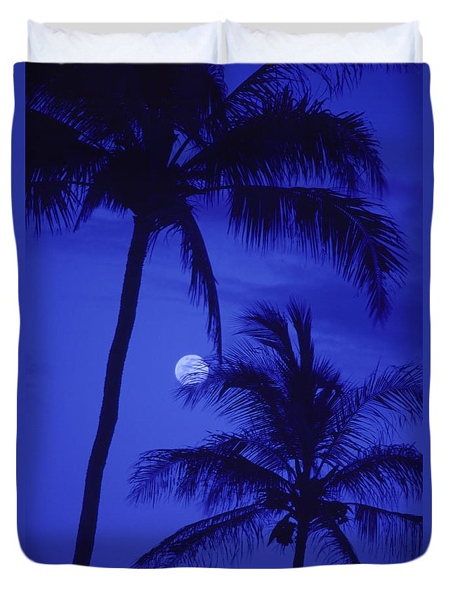 Blue Duvet Cover featuring the photograph Two Palms by Ron Dahlquist - Printscapes