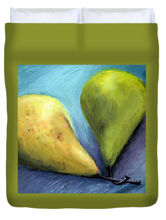 Pear Duvet Cover featuring the painting Two Pears Still Life by Michelle Calkins