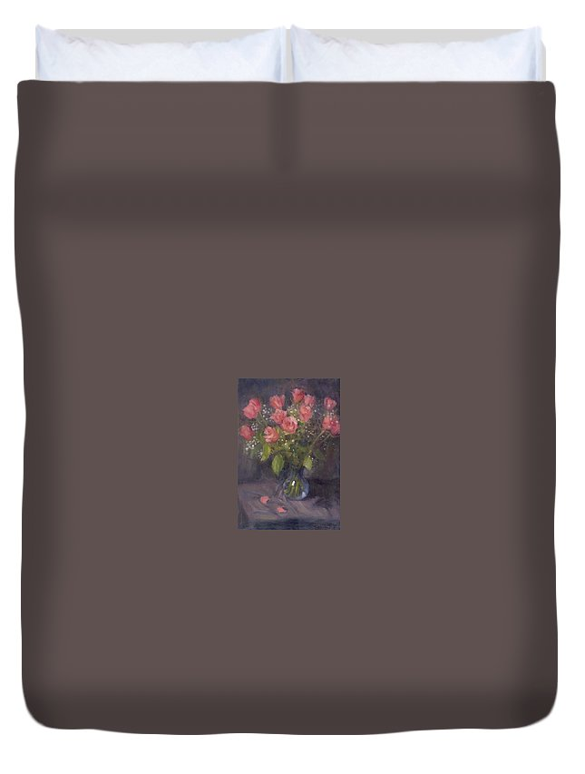 Flowers Duvet Cover featuring the painting Two Petals by Michael Gillespie