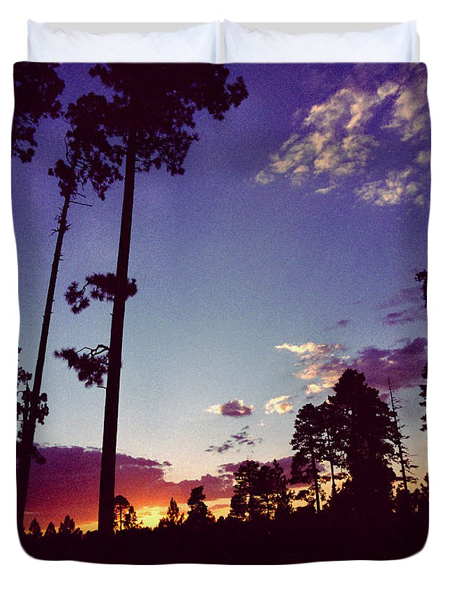 Arizona Sunset Duvet Cover featuring the photograph Two Pines Sunset by Randy Oberg