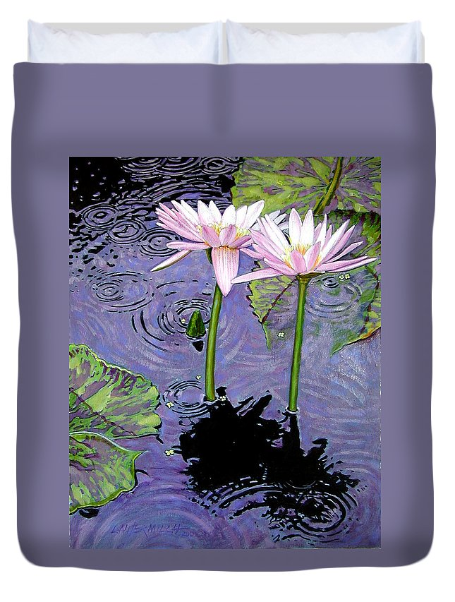 Pink Water Lilies Duvet Cover featuring the painting Two Pink Lilies In The Rain by John Lautermilch
