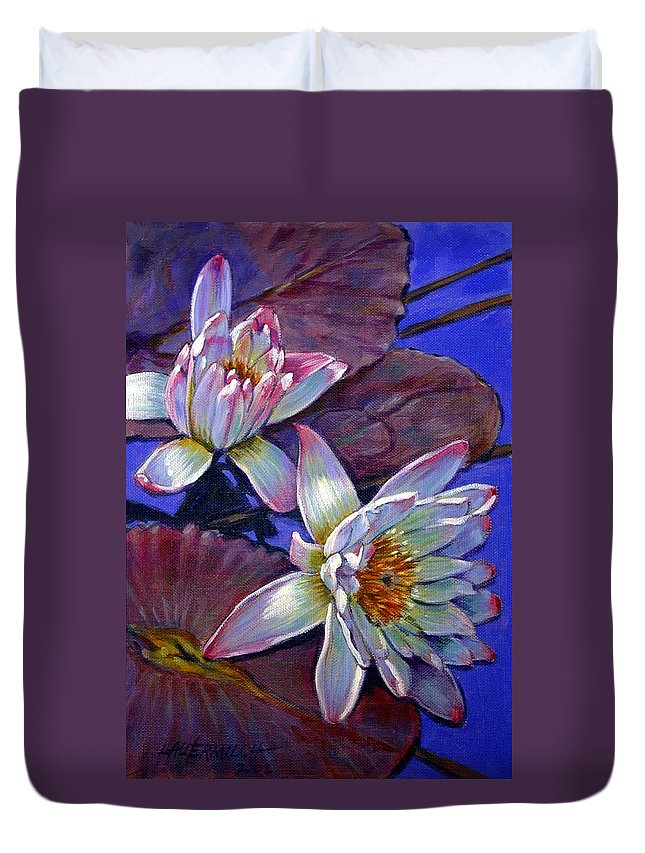 Water Lilies Duvet Cover featuring the painting Two Pink Water Lilies by John Lautermilch