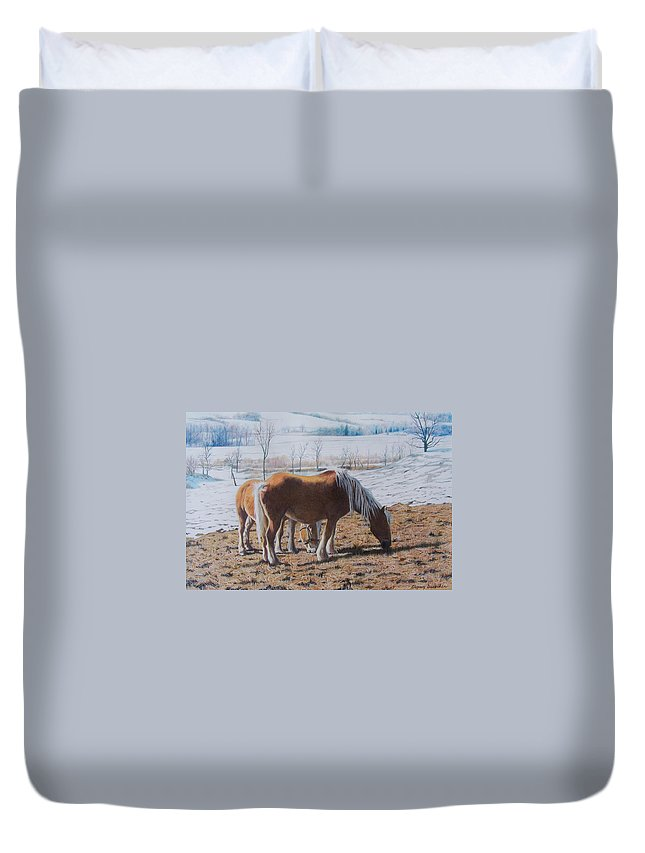 Horses Duvet Cover featuring the mixed media Two Ponies In The Snow by Constance Drescher