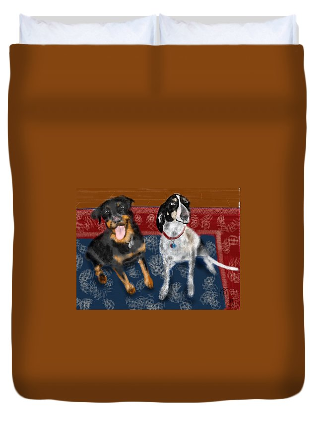 Persian Carpet Duvet Cover featuring the painting Two Pups On A Persian Carpet by Lois Ivancin Tavaf