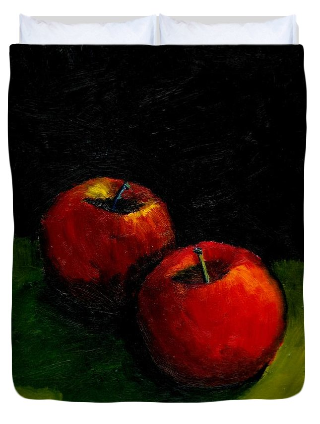 Red Duvet Cover featuring the painting Two Red Apples Still Life by Michelle Calkins