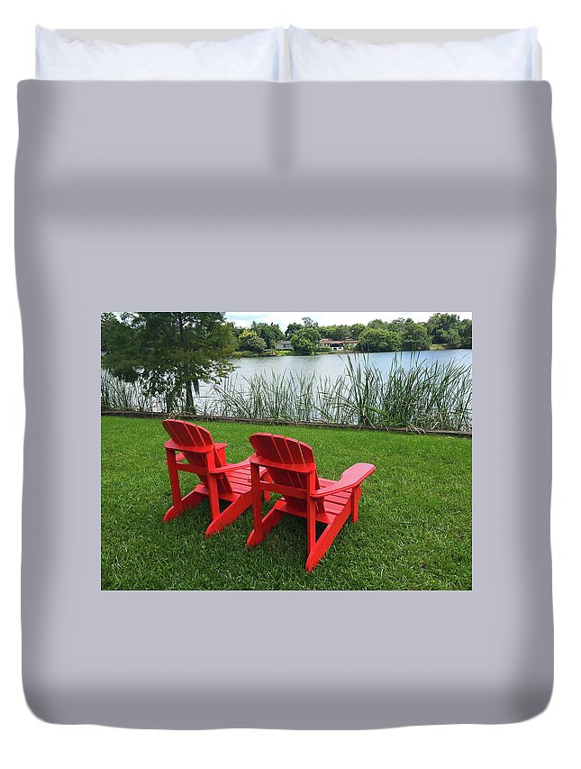 Chair Duvet Cover featuring the photograph Two Red Chairs Overlooking Lake Formosa by Denise Mazzocco