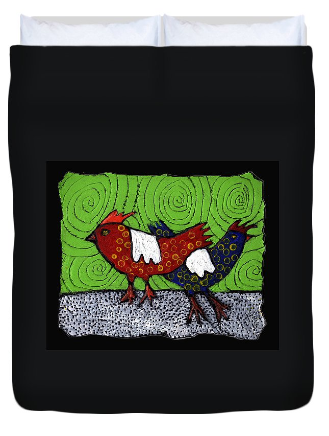 Chickens Duvet Cover featuring the painting Two Roosters by Wayne Potrafka