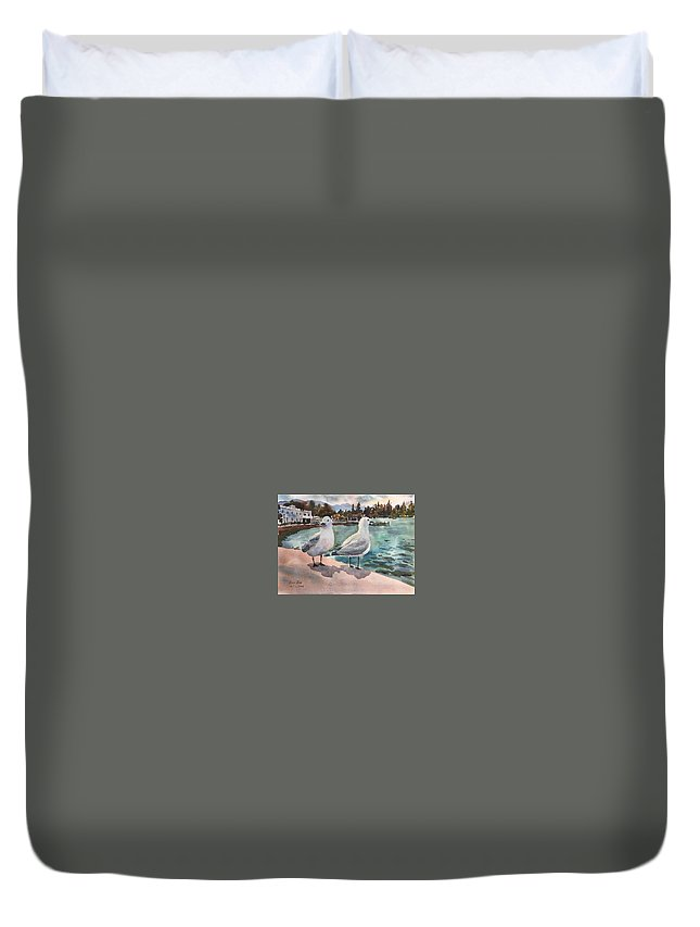 Two Seagulls Duvet Cover featuring the painting Two Seagulls By The Sea by Ken Bao--Fine Art Spring