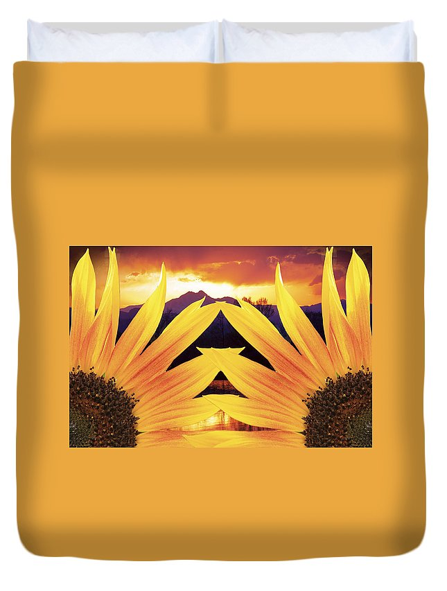 Sunflowers Duvet Cover featuring the photograph Two Sunflower Sunset by James BO Insogna