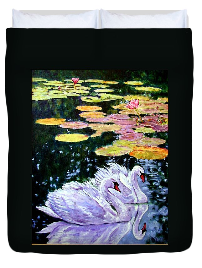 Swans Duvet Cover featuring the painting Two Swans In The Lilies by John Lautermilch