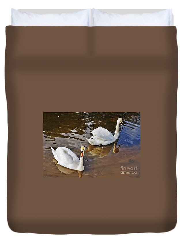 Beautiful Duvet Cover featuring the photograph Two Swans On Spring Water by Vadzim Kandratsenkau