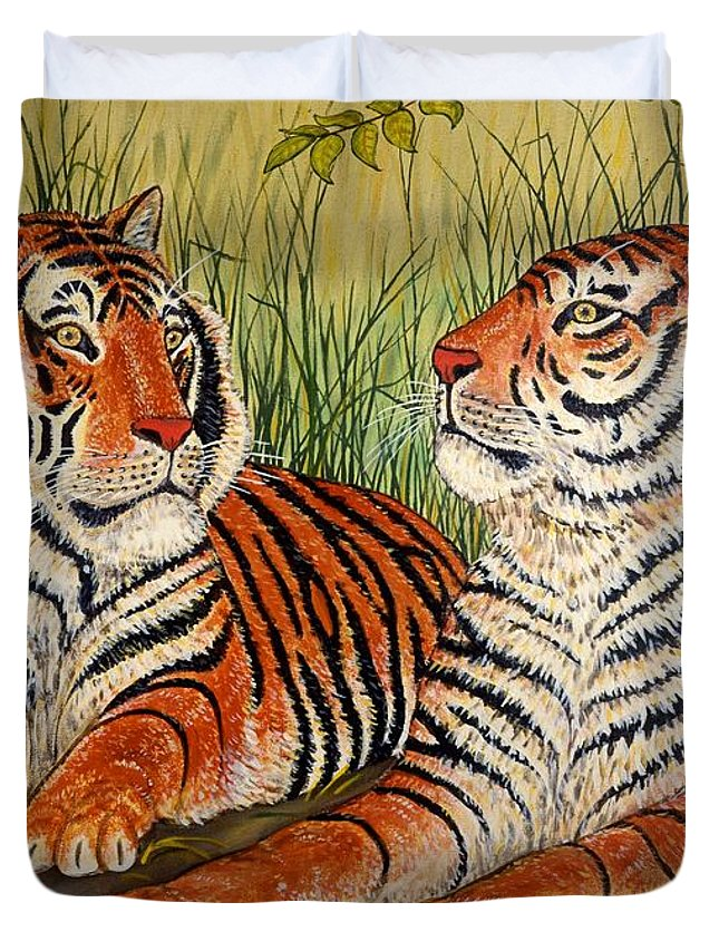 Wildlife Duvet Cover featuring the painting Two Tigers by Linda Mears