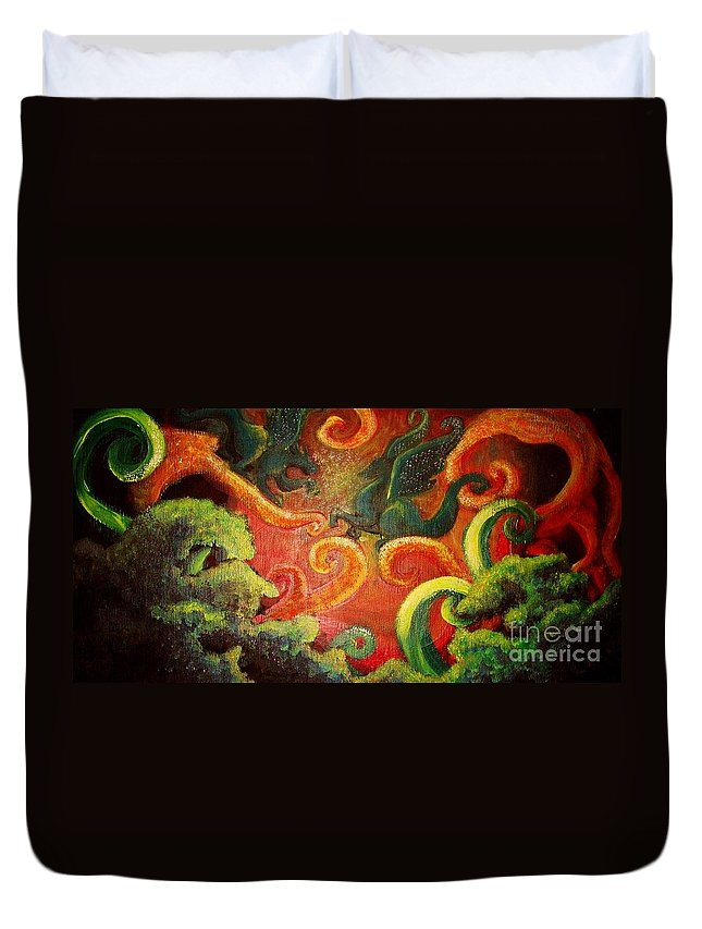 Dragons Duvet Cover featuring the painting Two Tiny Dragons by Morgan Leshinsky