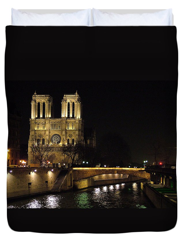 Two Duvet Cover featuring the photograph Two Towers Of Notre Dame by Donna Corless