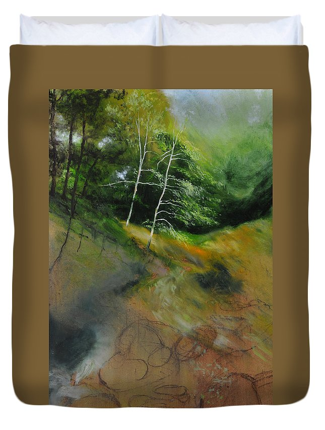 Landscape Duvet Cover featuring the painting Two Trees In Light by Harry Robertson