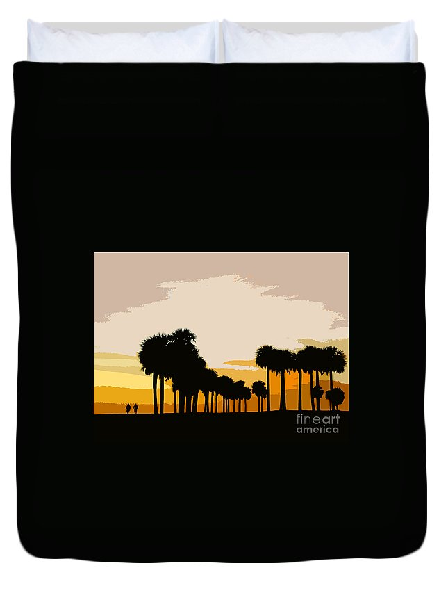 Palm Trees Duvet Cover featuring the painting Two With The Palms by David Lee Thompson