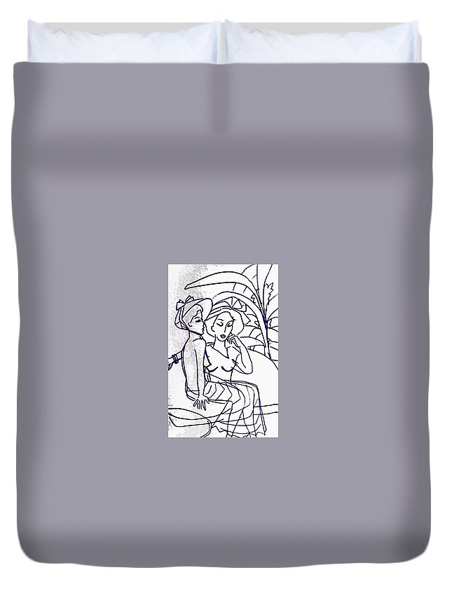 Woman's Portrait Duvet Cover featuring the drawing Two Women by Hae Kim