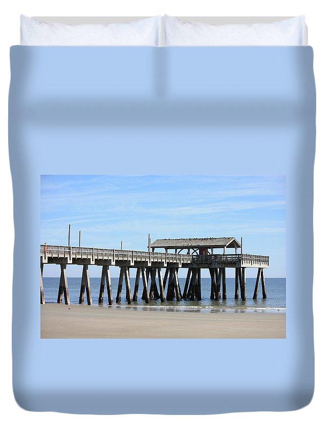 Tybee Island Pier Duvet Cover featuring the photograph Tybee Island Pier Closeup by Carol Groenen