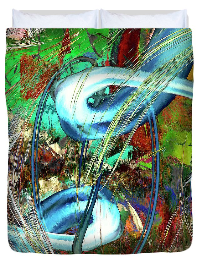 Abstract Duvet Cover featuring the painting Typhoon by Dominic Piperata