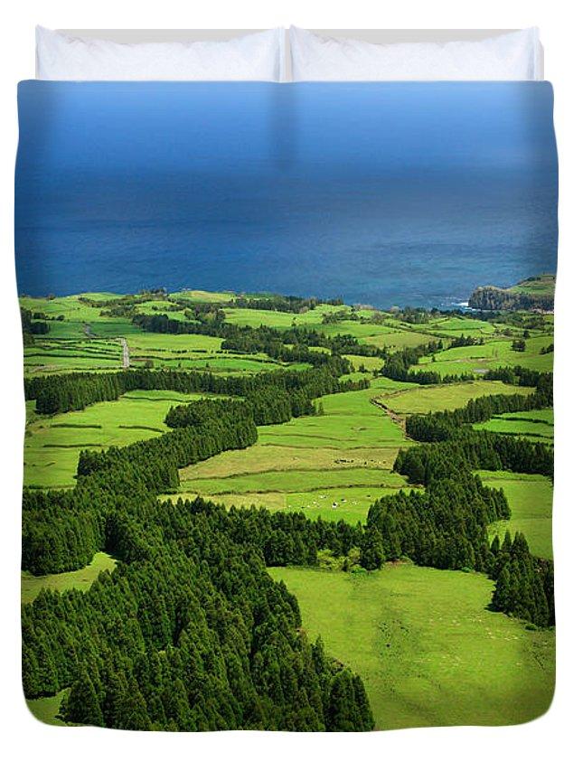 Landscape Duvet Cover featuring the photograph Typical Azores Islands Landscape by Gaspar Avila