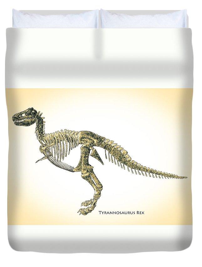 Biology Duvet Cover featuring the digital art Tyrannosaurus Rex Skeleton by Bob Orsillo