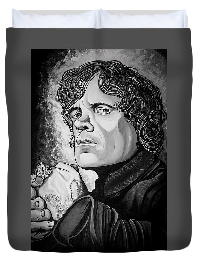 Tyrion Lannister Duvet Cover featuring the painting Tyrion Lannister by Matt Brown