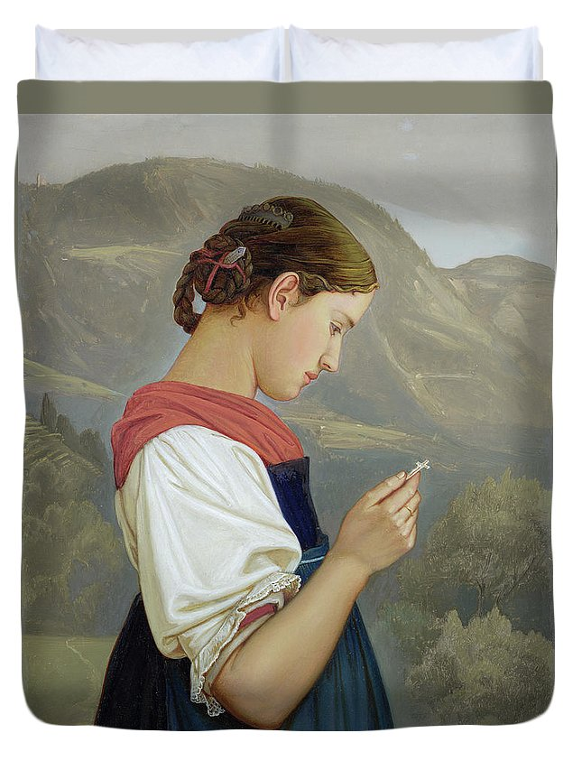 Tyrolean Girl Contemplating A Crucifix Duvet Cover featuring the painting Tyrolean Girl Contemplating A Crucifix by Rudolph Friedrich Wasmann