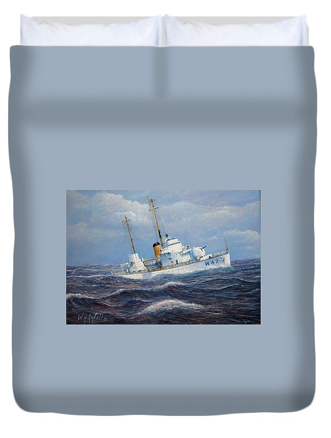 Marine Art Duvet Cover featuring the painting U. S. Coast Guard Cutter Sebago Takes A Roll by William H RaVell III