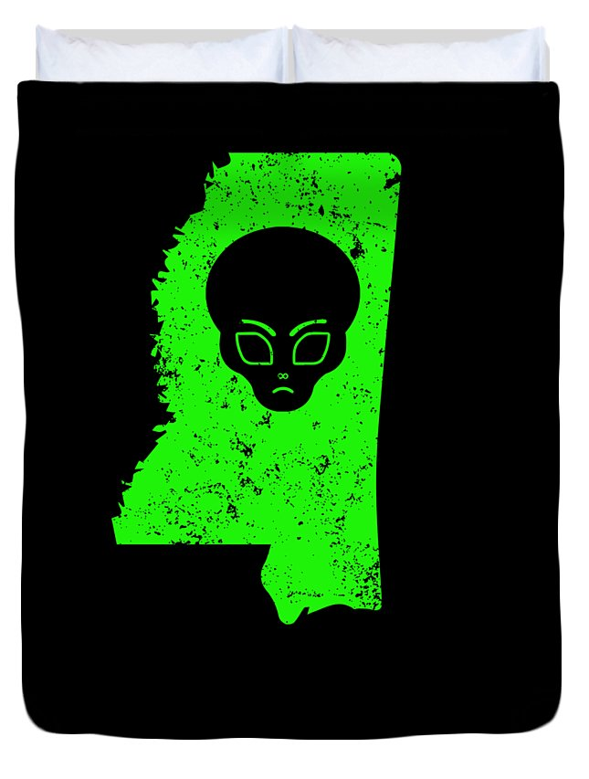 Lien-shirt Duvet Cover featuring the digital art Ufo Abduction Extraterrestrial Archaeology Mississippi by Funny4You