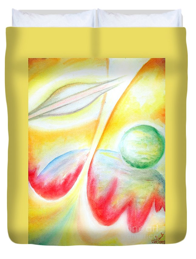 Ufo Duvet Cover featuring the painting Ufo. Flight Through Time by Sofia Metal Queen