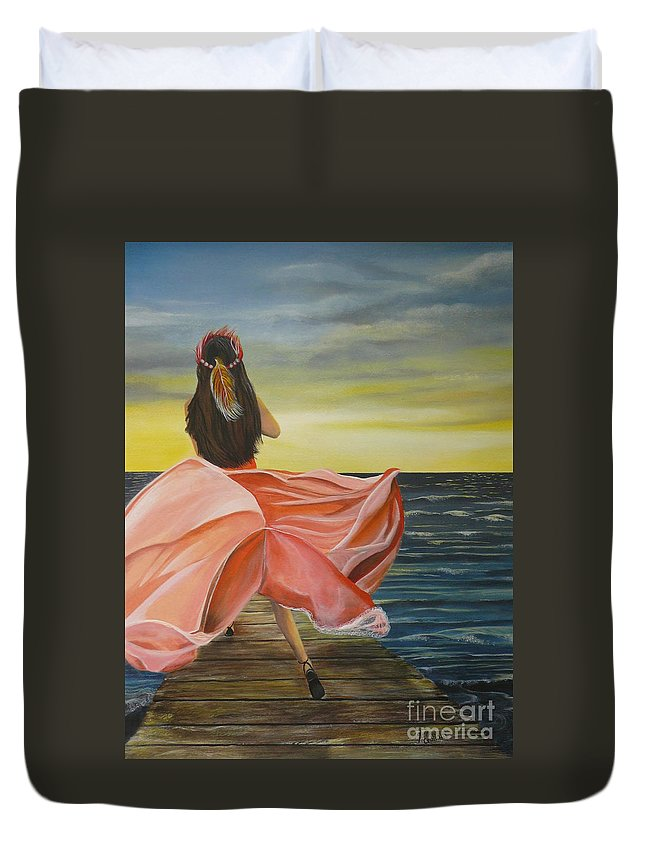Sunset Duvet Cover featuring the painting Uhane O Ka Welo by Kris Crollard