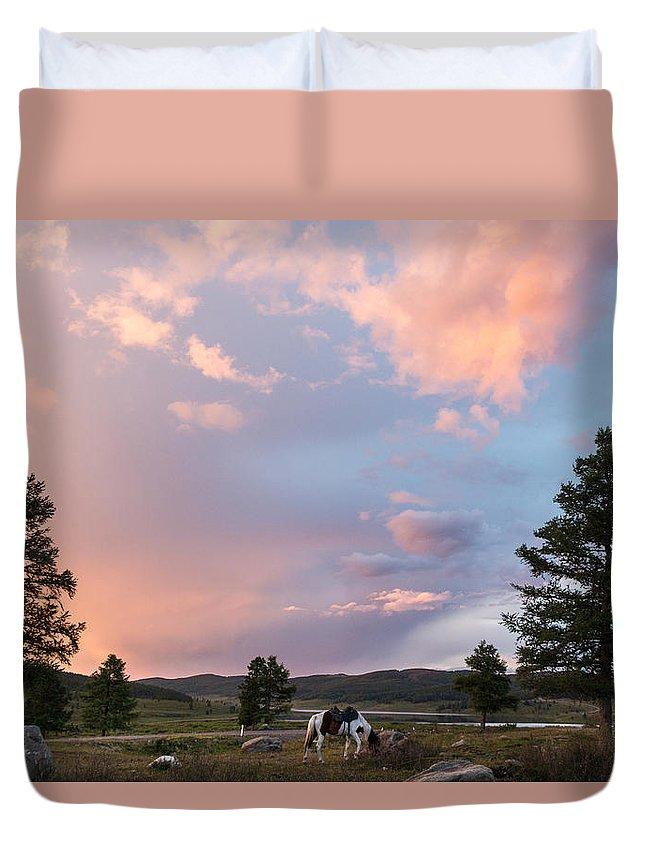 Sunset Duvet Cover featuring the photograph Ulagan Sunset. Mountain Altay by Viktor Kovchin