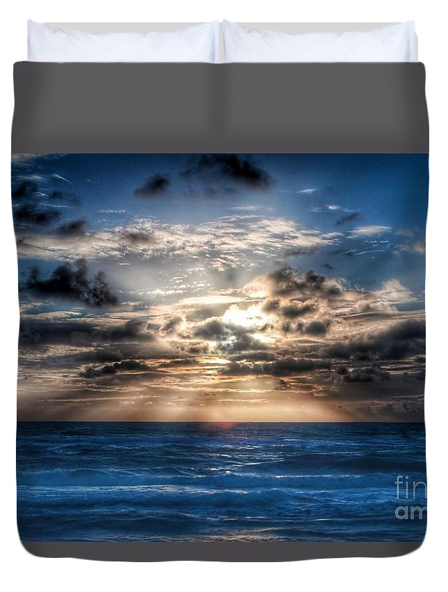 Sunrise Duvet Cover featuring the photograph Ultra Blue Sunrise by Glenn Forman