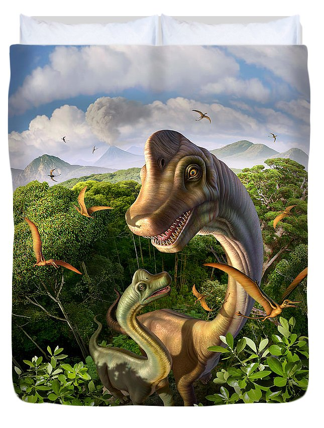 Brachiosaurus Duvet Cover featuring the digital art Ultrasaurus by Jerry LoFaro