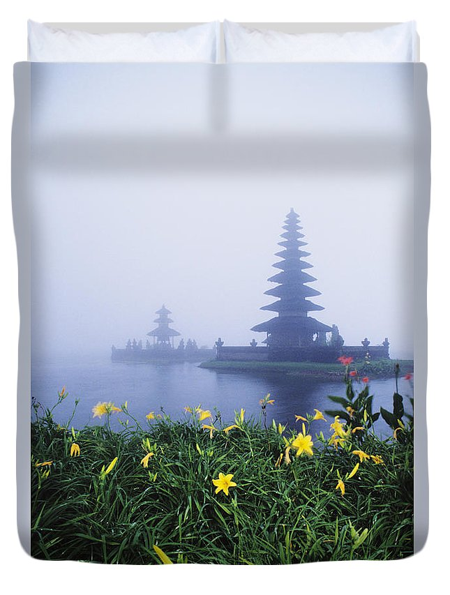 Architectural Duvet Cover featuring the photograph Ulu Danu Temple by William Waterfall - Printscapes