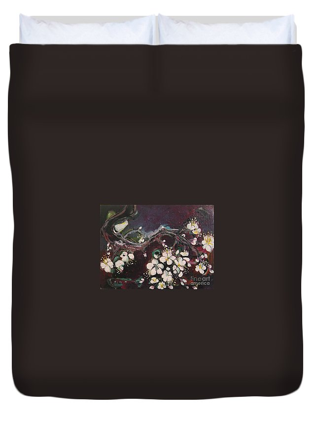 Ume Blossoms Paintings Duvet Cover featuring the painting Ume Blossoms by Seon-Jeong Kim