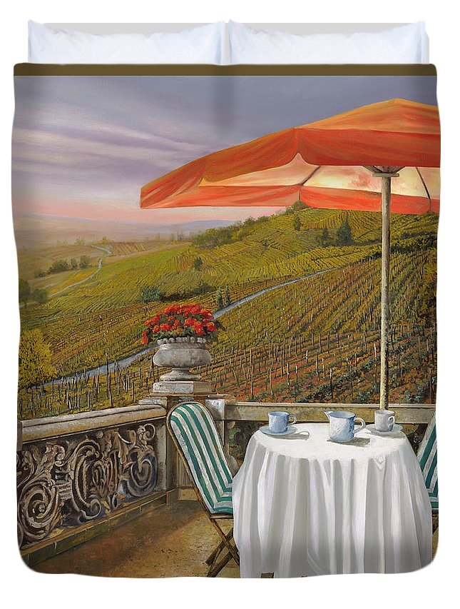 Vineyard Duvet Cover featuring the painting Un Caffe by Guido Borelli