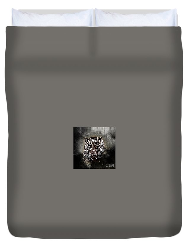 Marron Duvet Cover featuring the digital art Un Gros Chat A Adopter by Degouges Cindy