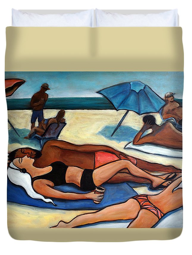 Beach Scene Duvet Cover featuring the painting Un Journee a la plage by Valerie Vescovi