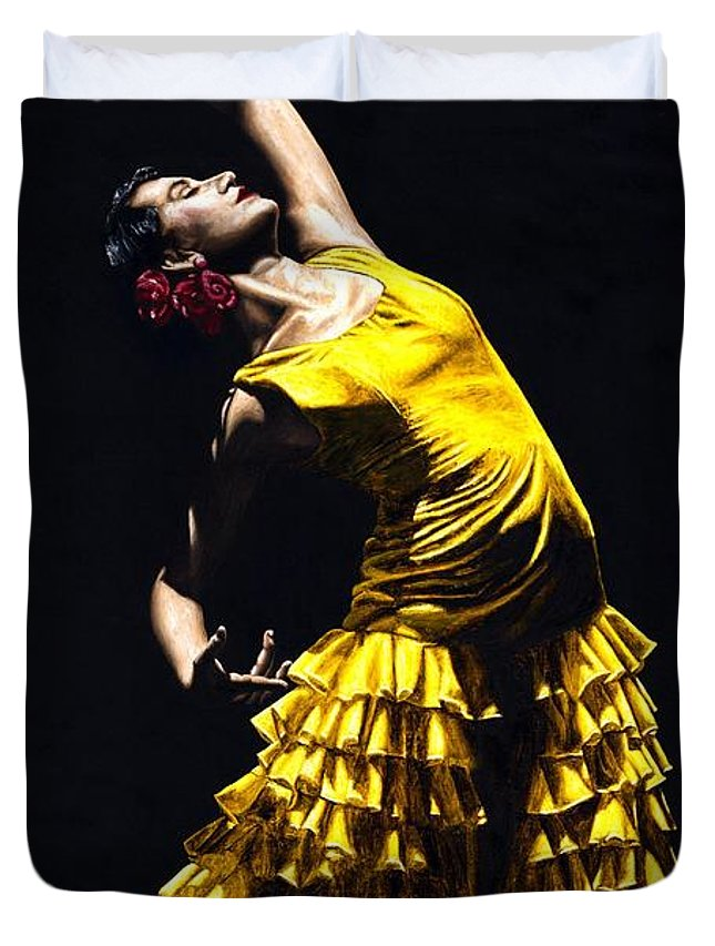Flamenco Duvet Cover featuring the painting Un Momento Intenso Del Flamenco by Richard Young