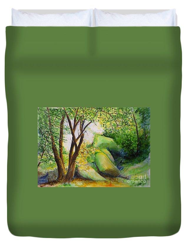 Wood Duvet Cover featuring the painting Un Rincon En El Valle De Los Suenos by Lizzy Forrester