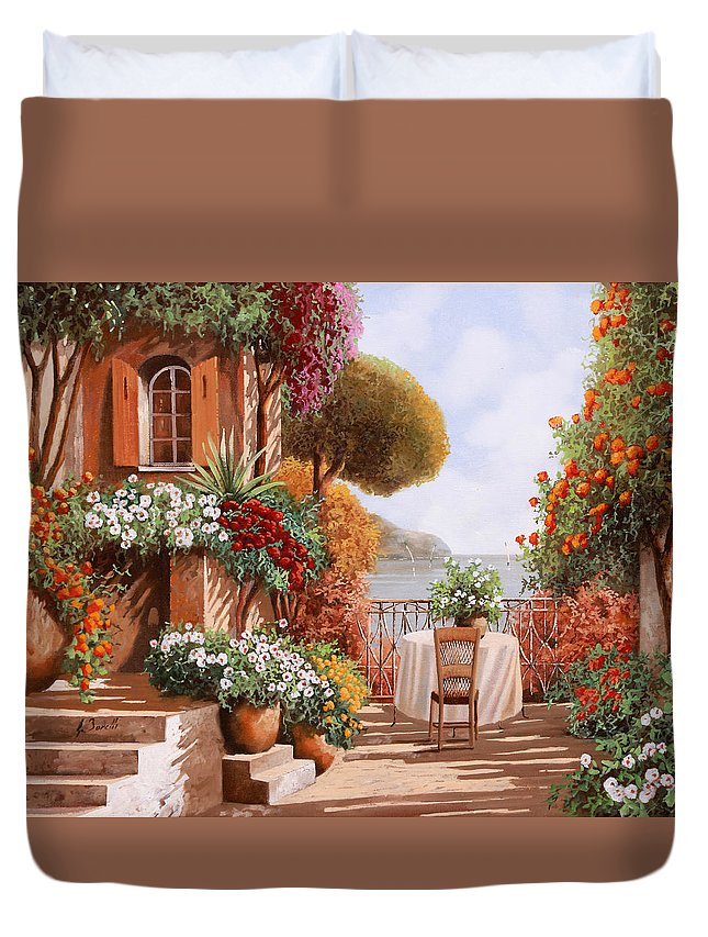 Terrace Duvet Cover featuring the painting Una Sedia In Attesa by Guido Borelli
