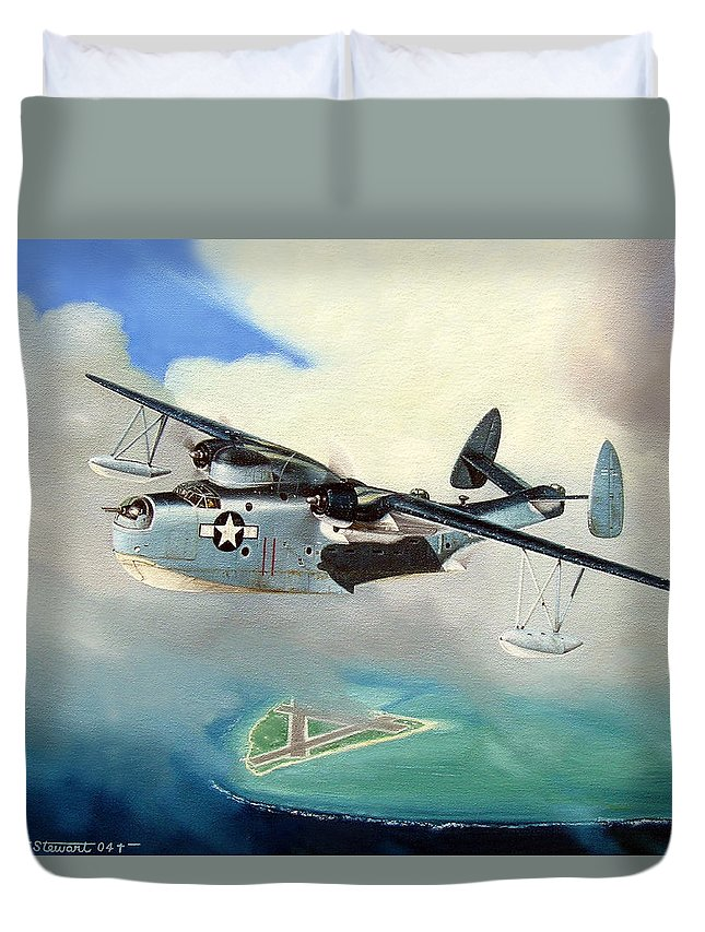 Military Duvet Cover featuring the painting Uncle Bubba's Flying Boat by Marc Stewart