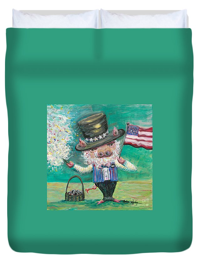 Fourth Of July Duvet Cover featuring the painting Uncle Spam by Nadine Rippelmeyer