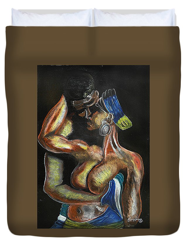 Sierra Leone Art Duvet Cover featuring the pastel Unconditional Love by Ebony Thompson