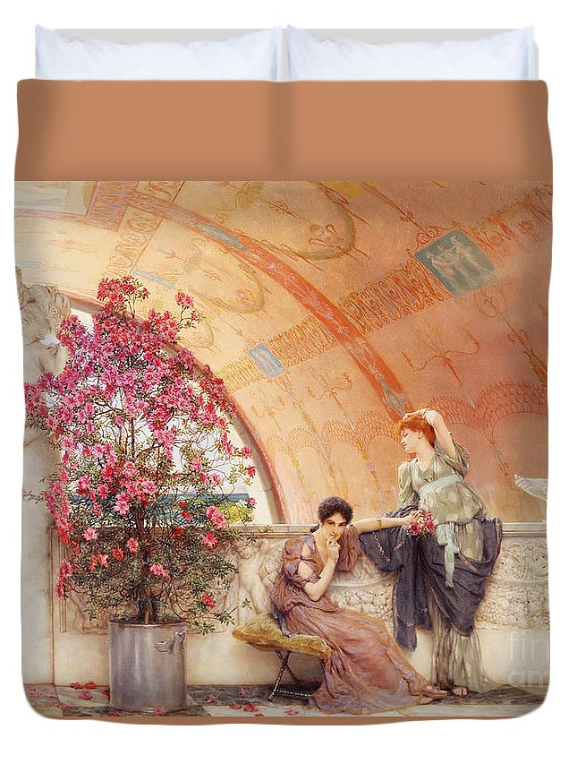 Unconscious Duvet Cover featuring the painting Unconscious Rivals by Sir Lawrence Alma Tadema